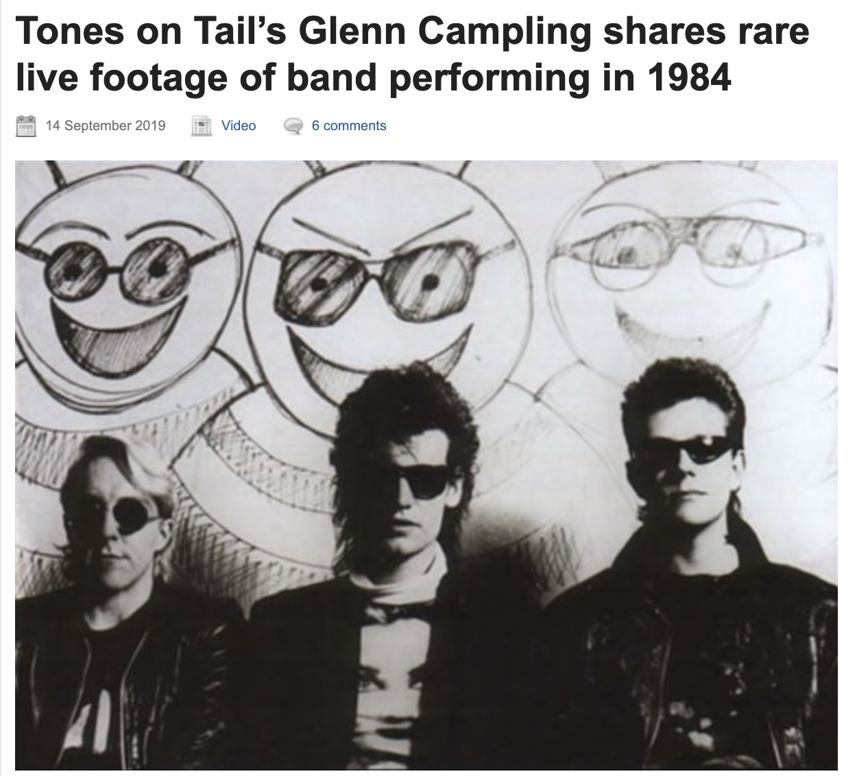 Tones on Tail's Glenn Campling shares rare live footage of band performing in 1984